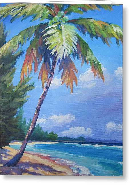 Coconut Palm Tree Greeting Cards - Palm Tree and View East    Greeting Card by John Clark
