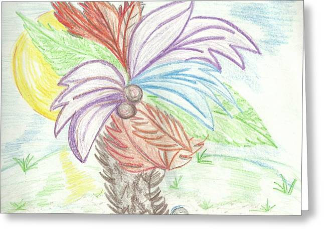 Floral Digital Drawings Greeting Cards - Palm Tree Greeting Card by Becky Sterling