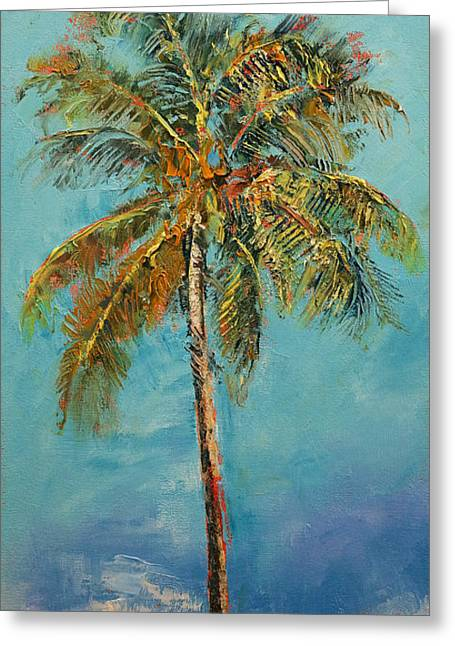 California Art Paintings Greeting Cards - Palm Tree Greeting Card by Michael Creese