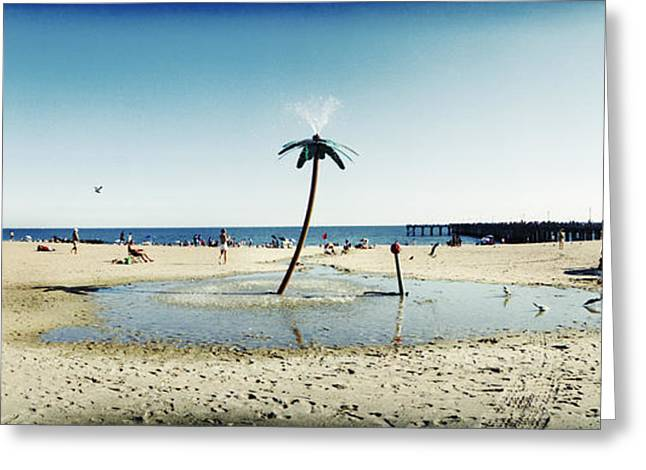 York Beach Greeting Cards - Palm Tree Sprinkler On The Beach, Coney Greeting Card by Panoramic Images