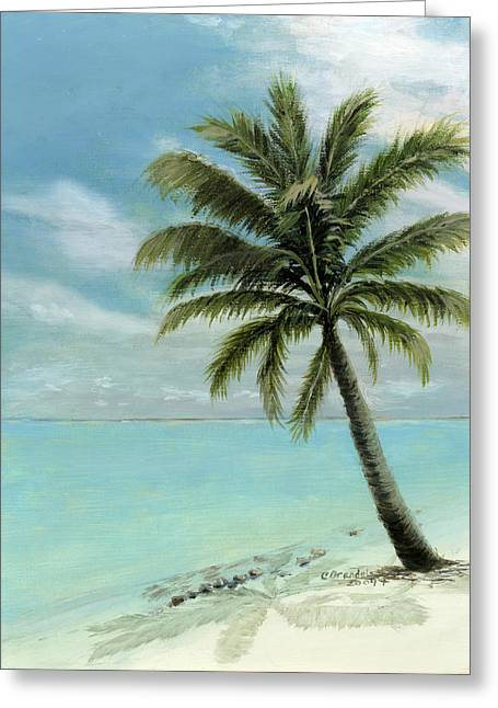 Blue Sky And Sand Greeting Cards - Palm Tree Study Greeting Card by Cecilia  Brendel