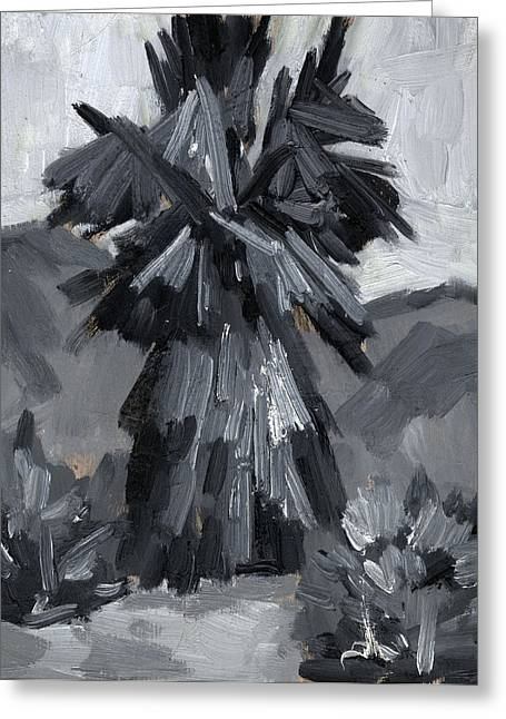 Gray Scale Greeting Cards - Palm Tree Study Greeting Card by Diane McClary
