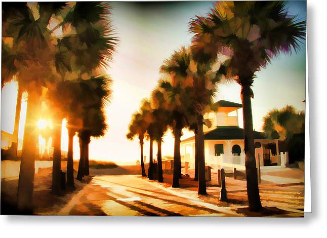 Jacksonville Greeting Cards - Palm Tree Sunrise Greeting Card by Alice Gipson