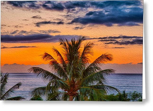 Owfotografik Greeting Cards - Palm Tree Sunset Greeting Card by Omaste Witkowski