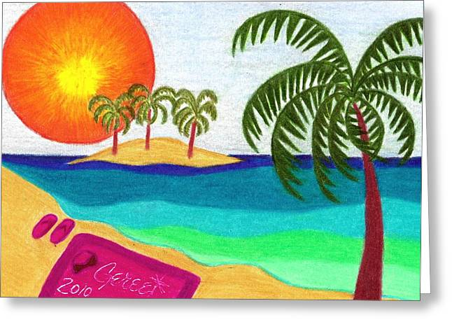 Beach Towel Greeting Cards - Palm Trees Across the Water Greeting Card by Geree McDermott