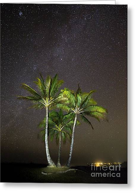 Coconut Palm Tree Greeting Cards - Palm Trees and Milky Way Galaxy Hanalei Bay Kauai Greeting Card by Dustin K Ryan