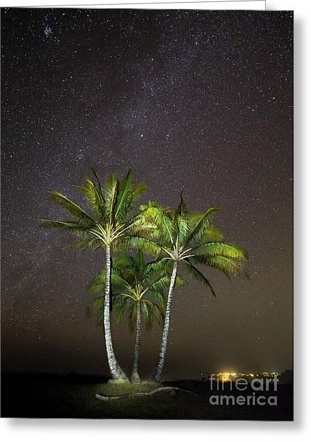 Coconut Palms Greeting Cards - Palm Trees and Milky Way Galaxy Hanalei Bay Kauai Greeting Card by Dustin K Ryan