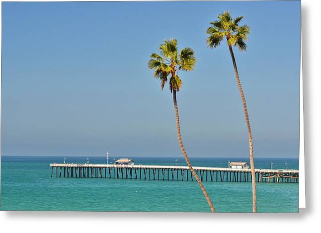 Clemente Greeting Cards - Palm Trees and Pier Greeting Card by Richard Cheski