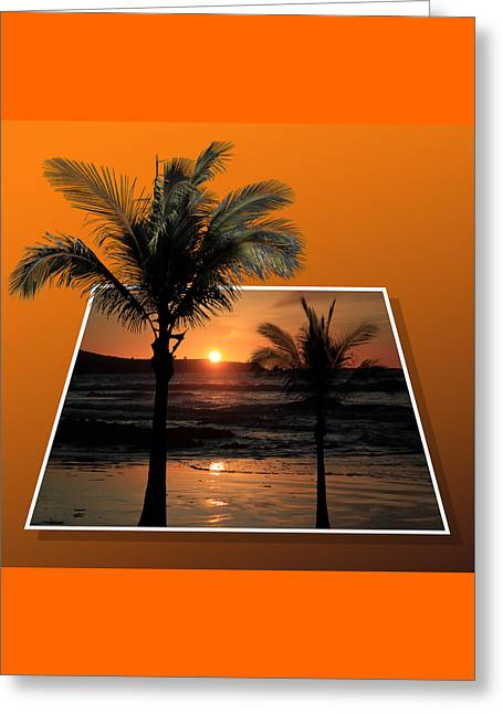 Beach Photographs Mixed Media Greeting Cards - Palm Trees at Sunset Greeting Card by Shane Bechler