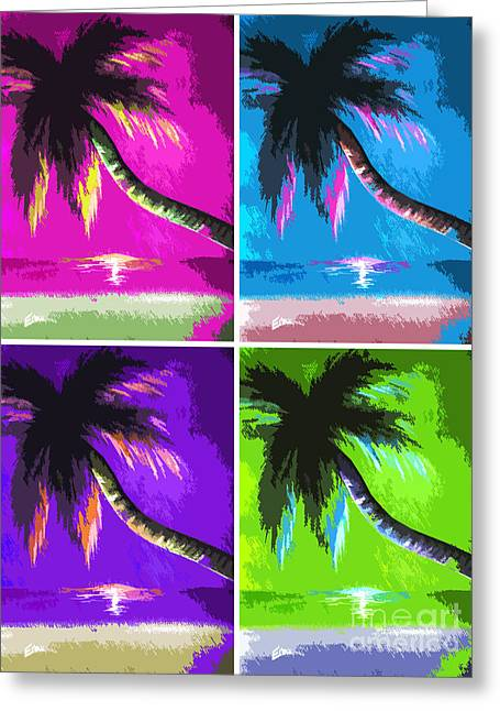 Abstract Digital Paintings Greeting Cards - Palm Trees by Shawna Erback Greeting Card by Shawna Erback