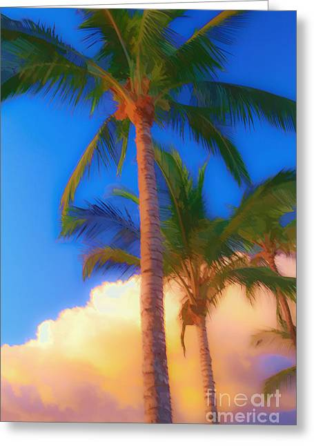 Textured Effect Greeting Cards - Palm Trees Hawaii Watercolor Greeting Card by Edward Fielding