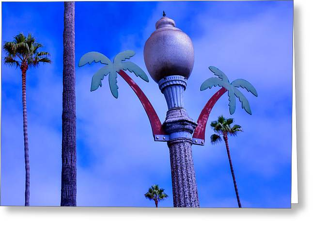 Streetlight Greeting Cards - Palm Trees Lamp Post Greeting Card by Garry Gay