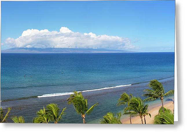 Palm Trees On The Beach, Kaanapali Greeting Card by Panoramic Images