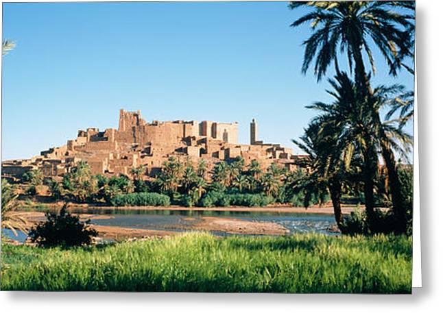 Civilization Greeting Cards - Palm Trees With A Fortress Greeting Card by Panoramic Images