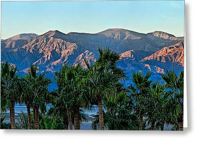 Tourist Resort Greeting Cards - Palm Trees With Mountain Range Greeting Card by Panoramic Images