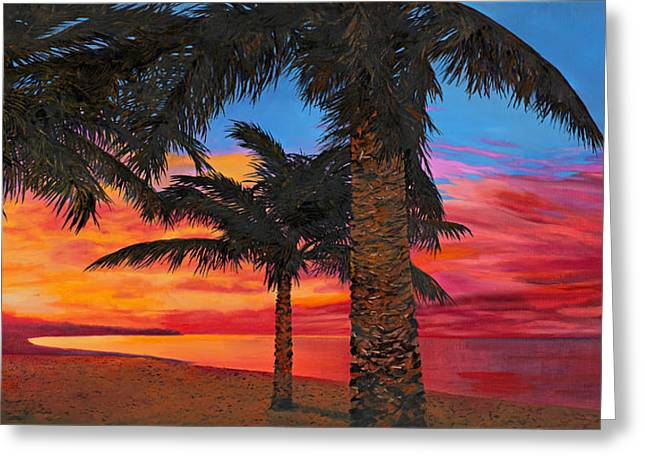 Seashores Greeting Cards - Palme Al Tramonto Greeting Card by Guido Borelli