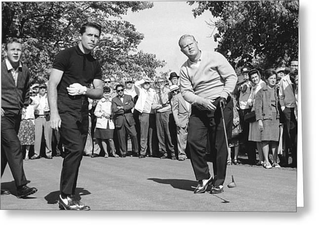 Famous Athletes Greeting Cards - Palmer, Player And NIcklaus Greeting Card by Underwood Archives