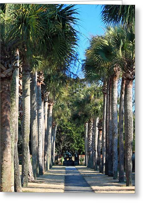 Palmetto Trees Greeting Cards - Palmetto Alee Greeting Card by Suzanne Gaff