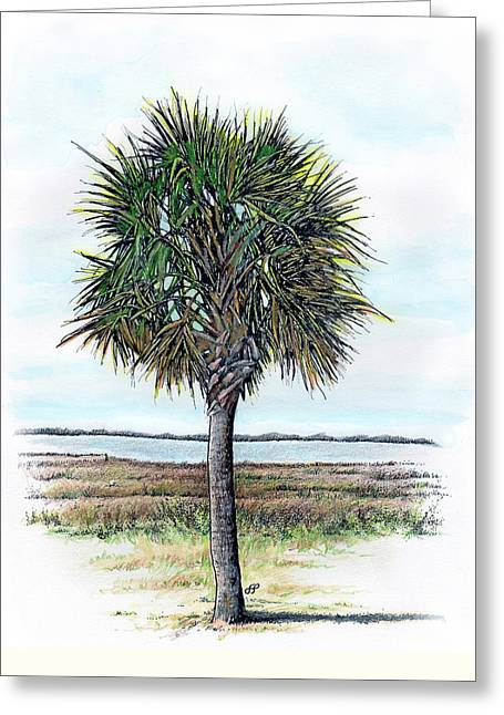 Charleston Drawings Greeting Cards - Palmetto Proud Greeting Card by Stephen Paul Herchak