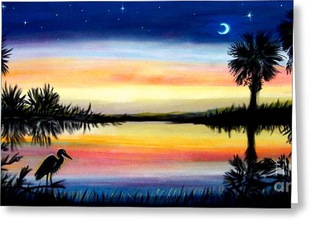Beach House Pastels Greeting Cards - Palmetto Tree Moon And Stars Low Country Sunset iii Greeting Card by Patricia L Davidson