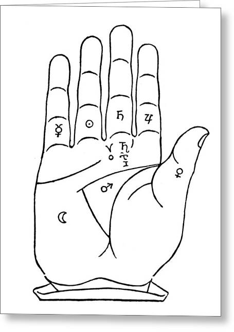 Palmistry Greeting Cards - Palmistry Chart, 1480 Greeting Card by Granger