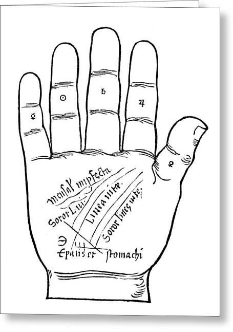 Palmistry Greeting Cards - Palmistry Chart, 1531 Greeting Card by Granger