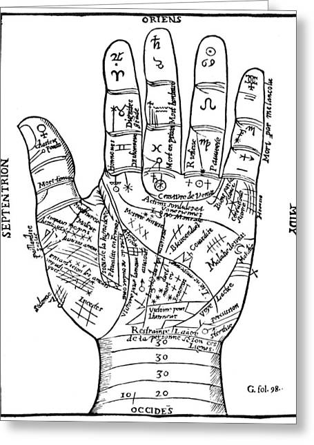 Palmistry Greeting Cards - Palmistry Chart, 1649 Greeting Card by Granger