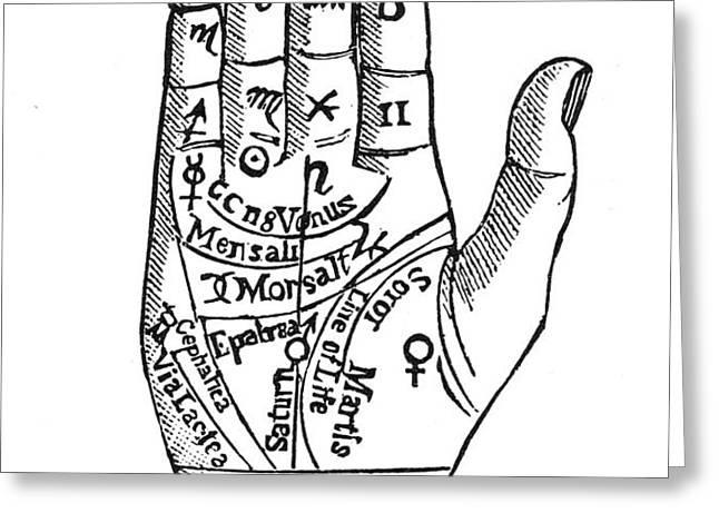 PALMISTRY CHART, 1885 Greeting Card by Granger