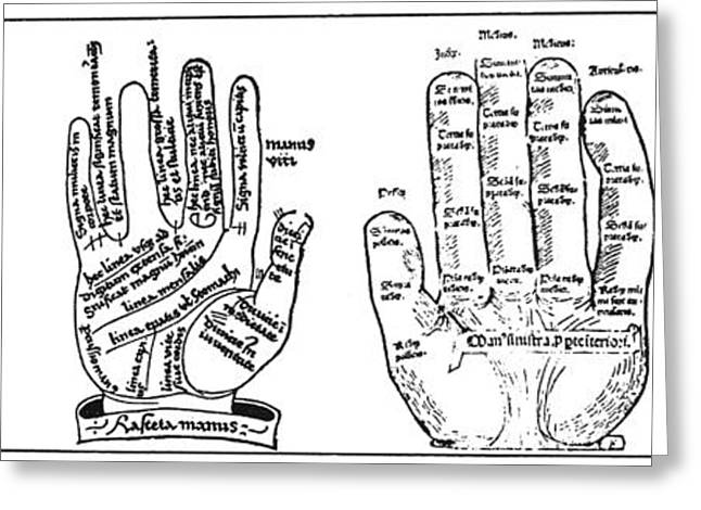 Palmistry Greeting Cards - Palmistry Chart Greeting Card by Granger