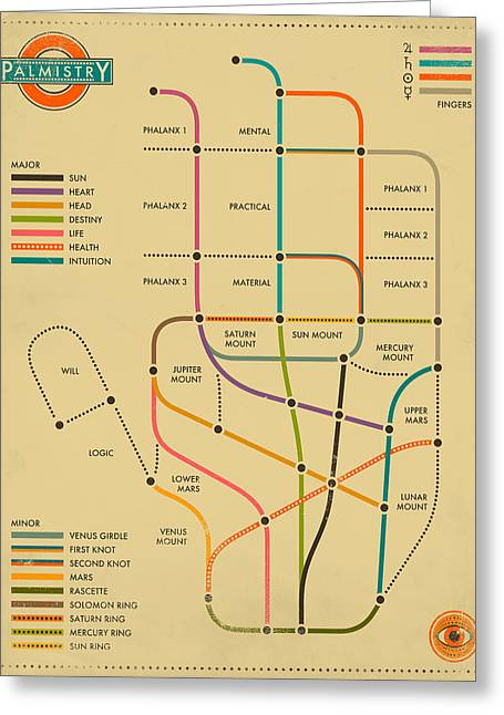 Palmistry Greeting Cards - Palmistry Subway Map Greeting Card by Jazzberry Blue