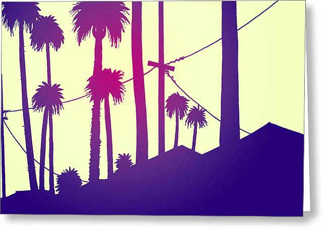 Sunset Drawings Greeting Cards - Palms 2 Greeting Card by Giuseppe Cristiano