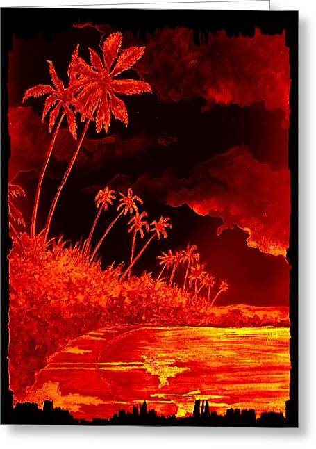 Tropical Beach Mixed Media Greeting Cards - Palms and Shoreline Greeting Card by Michael Vigliotti