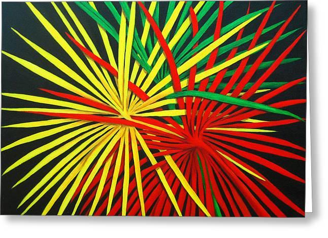 Palms Bursting Greeting Card by Roseann Gilmore