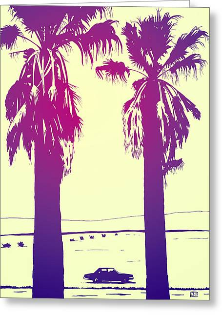 Los Angeles Drawings Greeting Cards - Palms Greeting Card by Giuseppe Cristiano