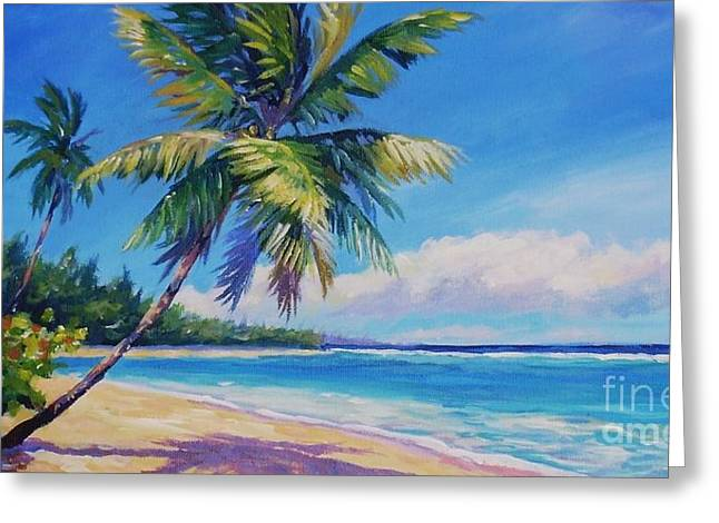 Palms on Tortola Greeting Card by John Clark