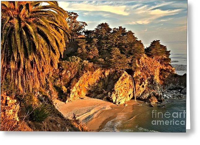 Big Sir California Greeting Cards - Palms Over McWay Greeting Card by Adam Jewell