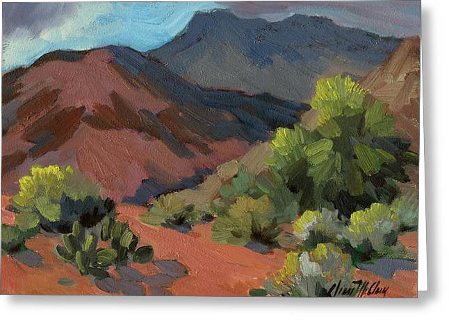 Desert Lake Paintings Greeting Cards - Palo Verdes in Bloom Greeting Card by Diane McClary
