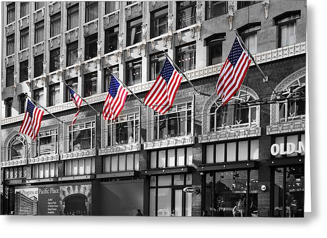 Downtown San Francisco Greeting Cards - Palomar Hotel and Old Navy in Downtown San Francisco - 5D19799 - Black and White and Partial Color Greeting Card by Wingsdomain Art and Photography