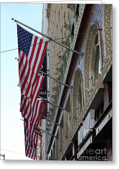 Downtown San Francisco Greeting Cards - Palomar Hotel and Old Navy on Market Street in Downtown San Francisco - 5D20728 Greeting Card by Wingsdomain Art and Photography