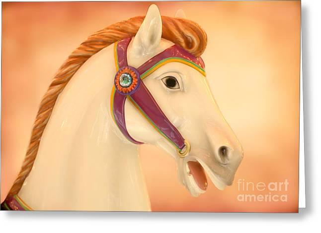 Palomino Carousel Horse Greeting Card by Sabrina L Ryan