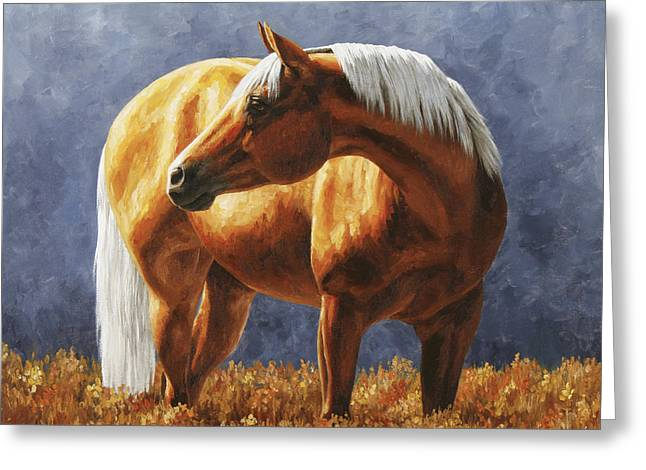 Quarter Horses Paintings Greeting Cards - Palomino Horse - Gold Horse Meadow Greeting Card by Crista Forest