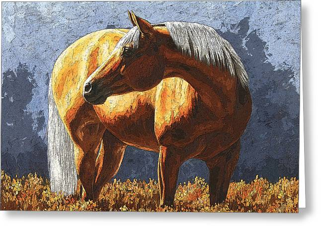 Quarter Horses Paintings Greeting Cards - Palomino Horse - Variation Greeting Card by Crista Forest