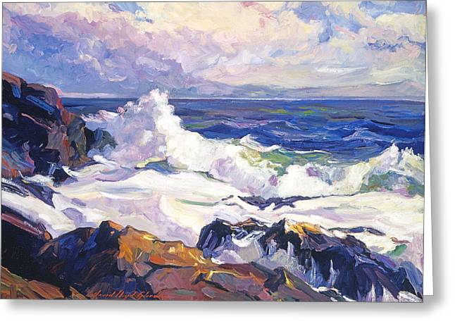 Evening Lights Paintings Greeting Cards - Palos Verdes Surf Greeting Card by David Lloyd Glover