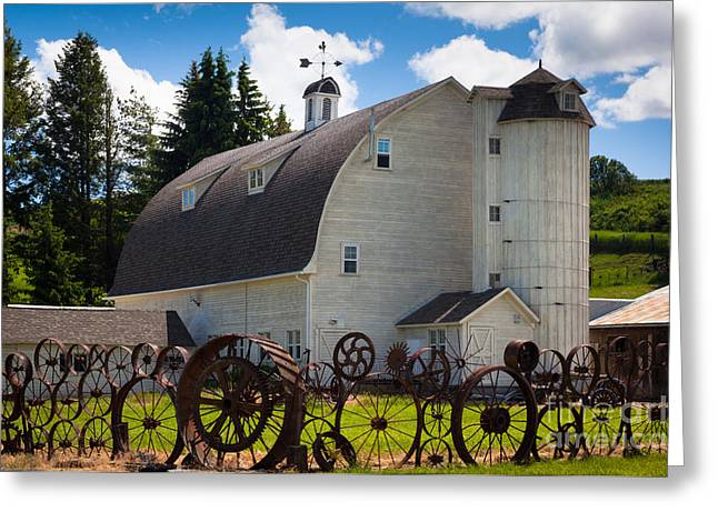 Rust Greeting Cards - Palosue Wagon Wheel Fence  Greeting Card by Inge Johnsson
