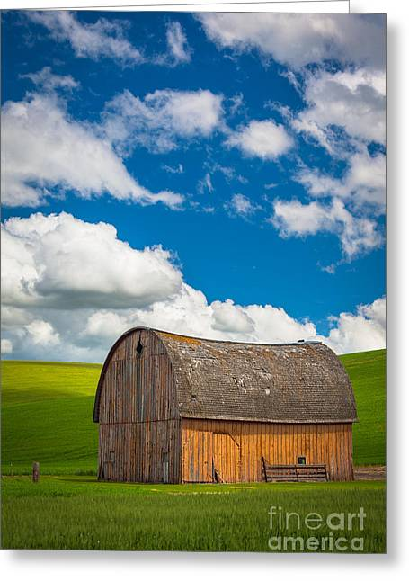 Rural Scenery Greeting Cards - Palouse Barn and Clouds Greeting Card by Inge Johnsson
