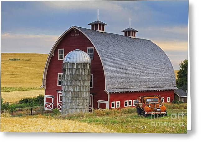 Field. Cloud Photographs Greeting Cards - Palouse Barn - Est. 1919 Greeting Card by Mark Kiver