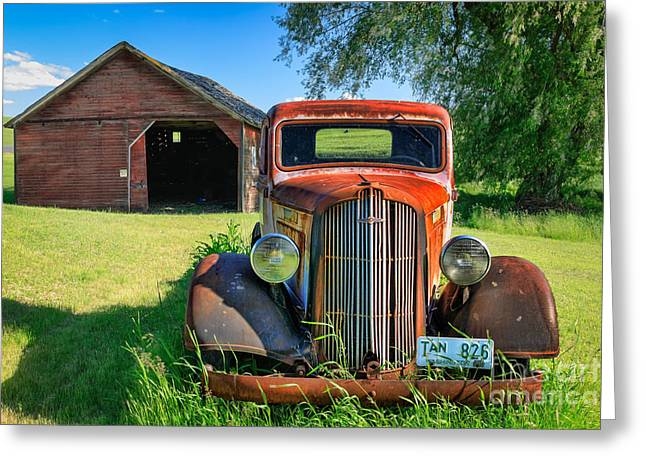 Rusted Cars Greeting Cards - Palouse Dodge Greeting Card by Inge Johnsson