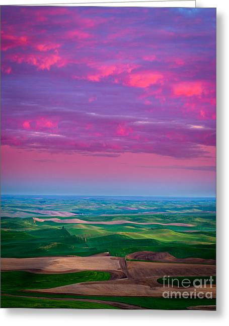 Green Hills Greeting Cards - Palouse Fiery Dawn Greeting Card by Inge Johnsson