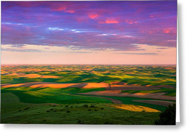 Agricultural Greeting Cards - Palouse Land and Sky Greeting Card by Inge Johnsson