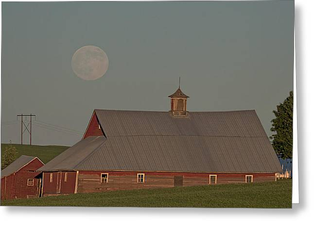 White Barns Greeting Cards - Palouse Solstice Moon Greeting Card by Latah Trail Foundation